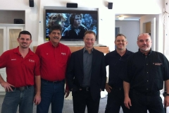 Gary Sinise, our founder Joel Berrettini on location in San Antonio